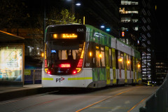 Tram on Collins Street at Southern Cross