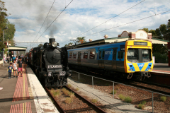 Steamrail Victoria K153 and Metro Trains Melbourne EMU in Essendon