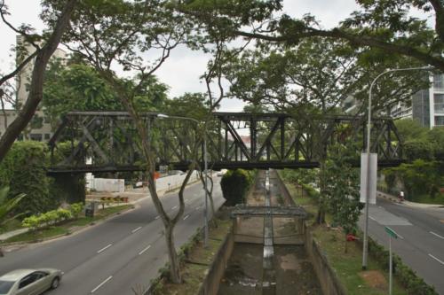 Abandoned railway bridge crossing Bukit Timah road