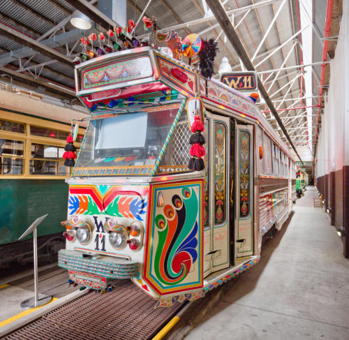 Yarra Trams Z1 Class No 81 'Karachi W11'. The tram is decorated to celebrate the 2006 Melbourne Commonwealth Games.
